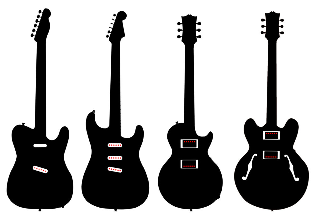Guitar body style including Telecaster, Stratocaster, Les Paul, and ES-335