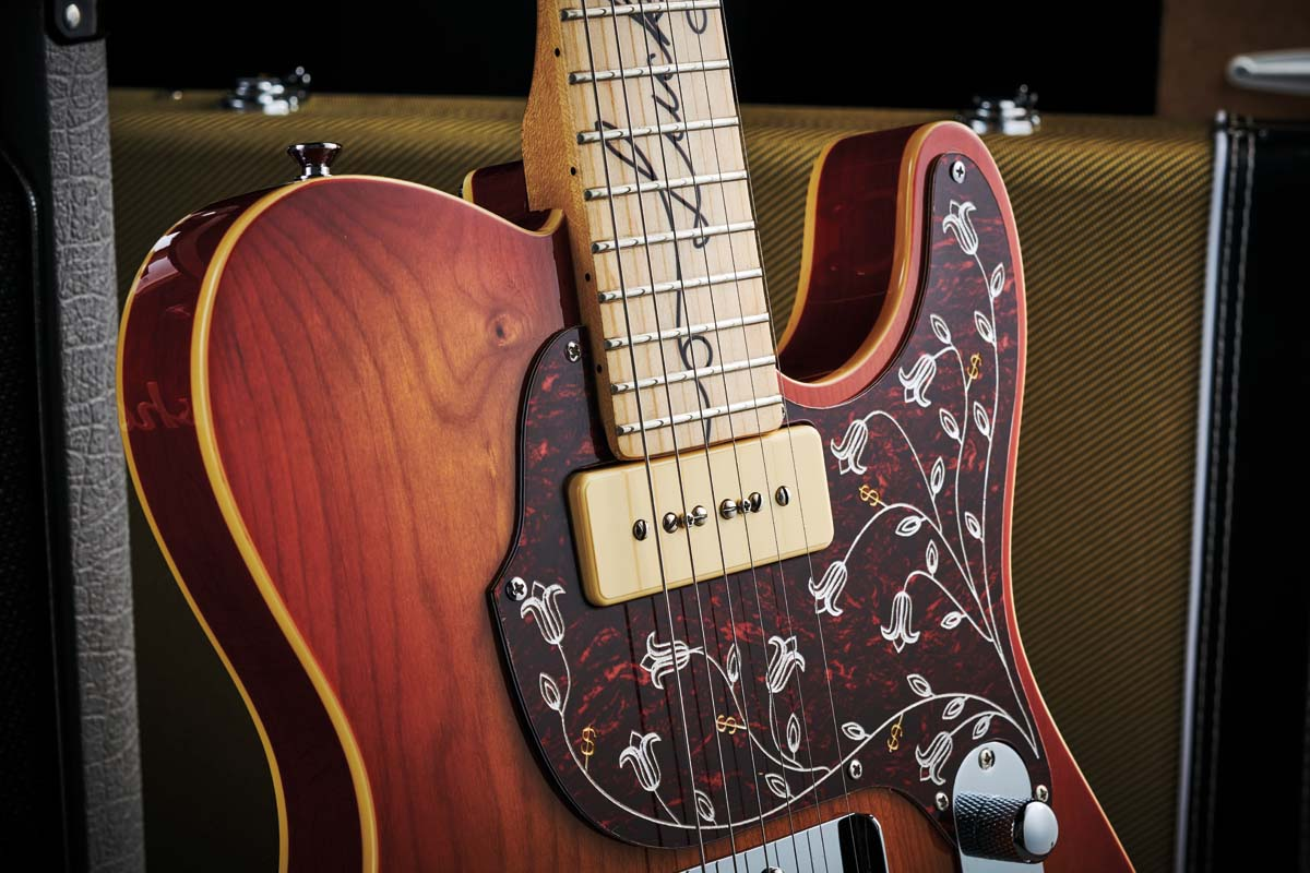 The Lucky Buck combines a traditional T-style bridge pickup with a fat-sounding P-90 soapbar. These are wired through a master volume, master tone and three-way pickup selector switch that's bent, Danny Gattonstyle, for easy reach.