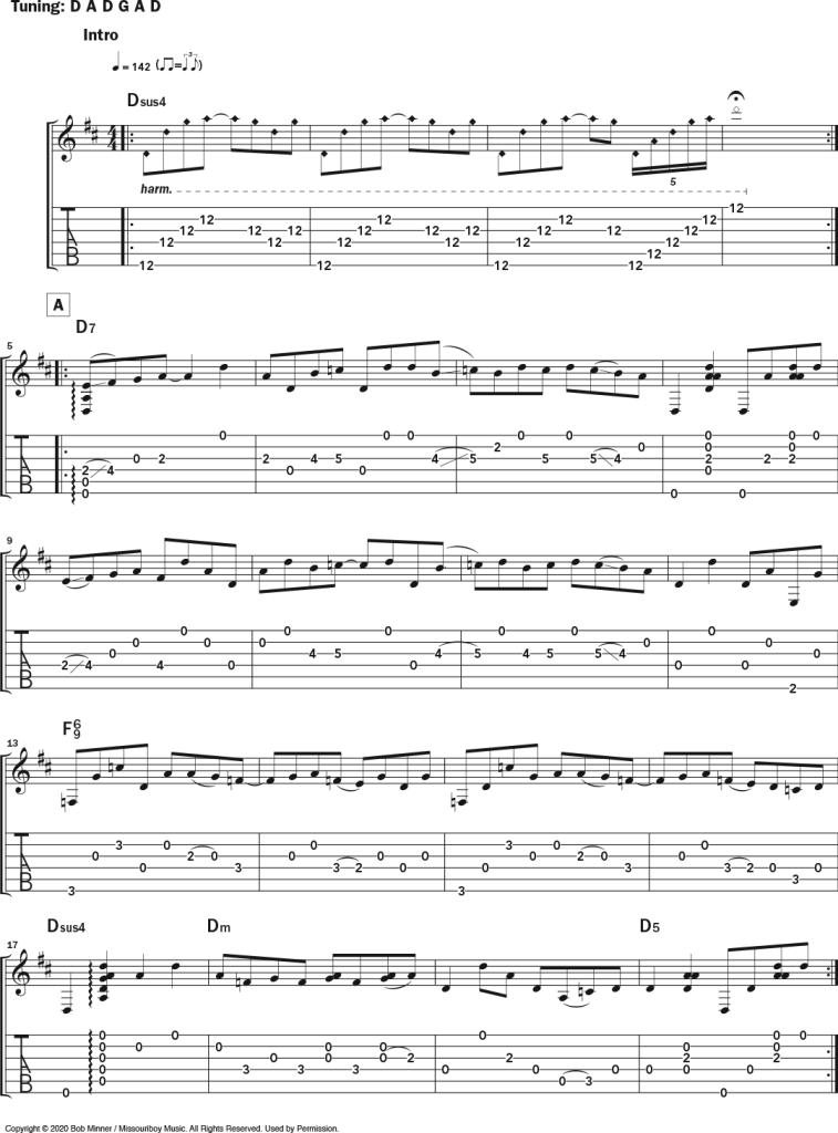 """Musical notation and tablature for Bob Minner's solo acoustic guitar piece """"VanWart,"""" a tribute to Collings Guitars' master luthier Bruce VanWart in DADGAD tuning."""