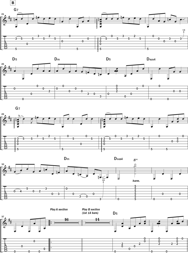 """Second page of musical notation and tablature for Bob Minner's solo acoustic guitar piece """"VanWart,"""" a tribute to Collings Guitars' master luthier Bruce VanWart in DADGAD tuning."""