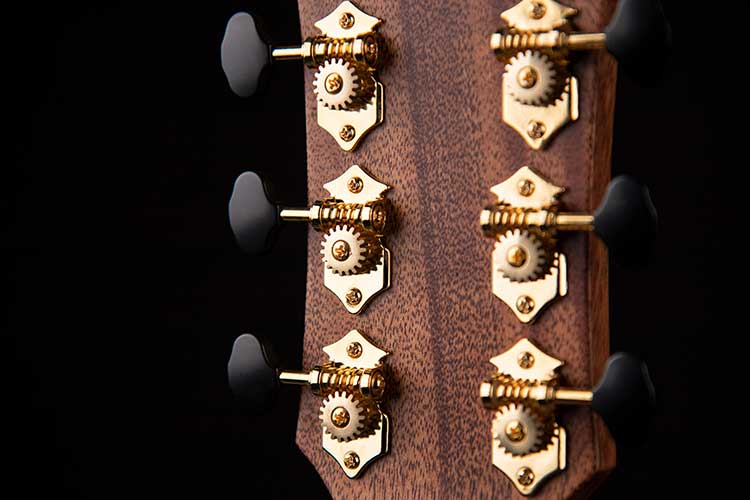 Closeup rear view of the Cort Gold-Edge acoustic-electric guitar's headstock and Gover Vintage tuners