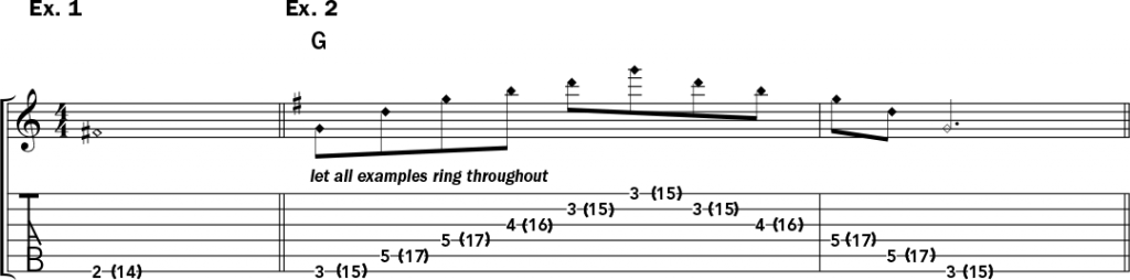 musical notation and tablature for examples 1 and 2 of Jeff Gunn's guitar lesson on how to play harp harmonics on acoustic guitar