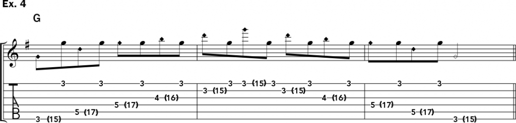 musical notation and tablature for example 4 of Jeff Gunn's guitar lesson on how to play harp harmonics on acoustic guitar