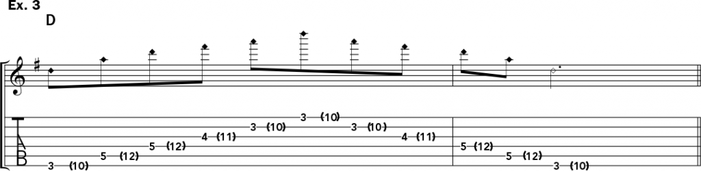 musical notation and tablature for example 3 of Jeff Gunn's guitar lesson on how to play harp harmonics on acoustic guitar