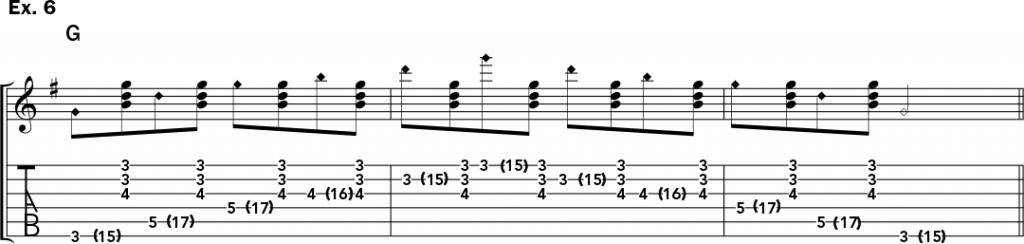 musical notation and tablature for example 6 of Jeff Gunn's guitar lesson on how to play harp harmonics on acoustic guitar