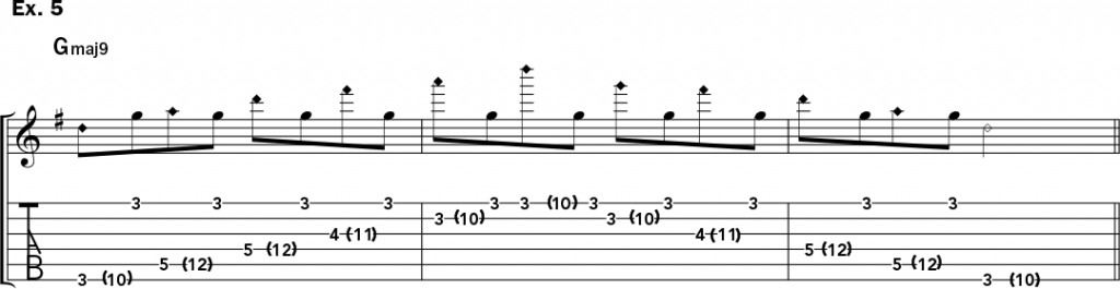 musical notation and tablature for example 5 of Jeff Gunn's guitar lesson on how to play harp harmonics on acoustic guitar