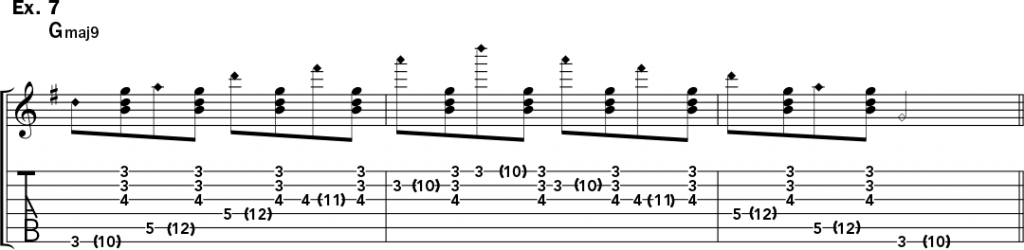 musical notation and tablature for example 7 of Jeff Gunn's guitar lesson on how to play harp harmonics on acoustic guitar