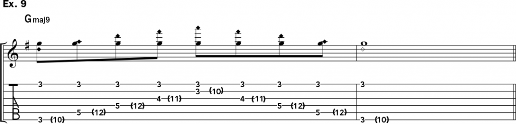 musical notation and tablature for example 9 of Jeff Gunn's guitar lesson on how to play harp harmonics on acoustic guitar