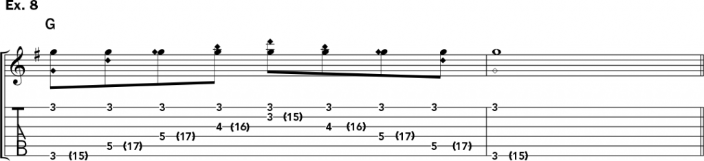 musical notation and tablature for example 8 of Jeff Gunn's guitar lesson on how to play harp harmonics on acoustic guitar