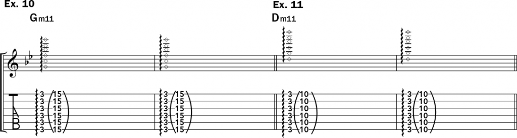 musical notation and tablature for examples 10 and 11 from Jeff Gunn's guitar lesson on how to play harp harmonics on acoustic guitar