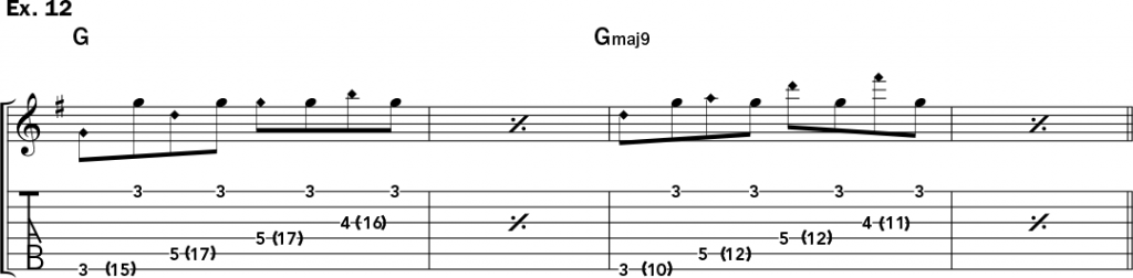 musical notation and tablature for example 12 from Jeff Gunn's guitar lesson on how to play harp harmonics on acoustic guitar