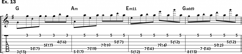 musical notation and tablature for example 13 from Jeff Gunn's guitar lesson on how to play harp harmonics on acoustic guitar